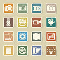 Camera and video sticker icons set illustration Stock Photos