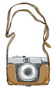 Camera vintage art and strap by hand draft vintgae Stock Image