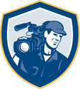 Cameraman film crew hd camera video shield retro illustration of a shooting with movie on shoulder set inside crest done in style Stock Image
