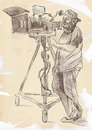 Cameraman from history to the present the art of film hand drawing illustration converted into vector layers Stock Photo
