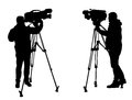 Cameraman silhouettes of in action Royalty Free Stock Image