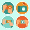 Cameras and mobile photography vector set of flat icons Royalty Free Stock Photos