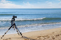 Cameras on a tripod. Royalty Free Stock Photo