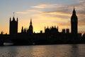 Camere del parlamento e di grande ben london al tramonto Fotografia Stock