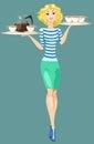 Cameriera di bar carrying della ragazza tray with cups of coffee Fotografia Stock Libera da Diritti