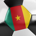 Cameroon soccer ball close up view of a with the cameroonian flag on it Stock Photos