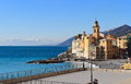Camogli italy liguria church and promenade in Stock Photo