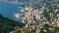 Camogli panorama aerial view of with its sea Royalty Free Stock Photos