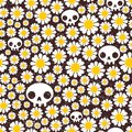 Camomile and skull seamless pattern vector texture Stock Photo