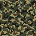 Camouflage pattern. Digital camouflage seamless pattern. Pixel camo in wooden style Royalty Free Stock Photo