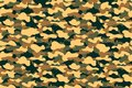Camouflage seamless pattern. Military clothing texture background with yellow, green and brown foliage