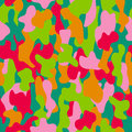 Camouflage seamless pattern in red, pink, green and orange colors.