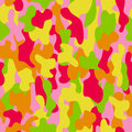 Camouflage seamless pattern in a red, yellow, pink, orange and green colors.