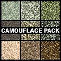 Camouflage texture pack. Pattern template forest, swamp, jungle, desert for hunting or military textile clothes