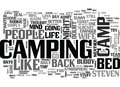 A Camp Bed Changed My Life Word Cloud Royalty Free Stock Photo