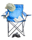 Camp chair blue folding isolated on white background Royalty Free Stock Photography