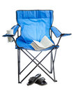 Camp chair blue folding isolated on white background Royalty Free Stock Images