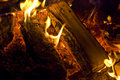 Camp fire burning in the night Royalty Free Stock Photo