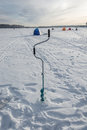Camp fishermen ice fishing on the river uvod ivanovo region Stock Image