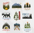 Camp logo, mountains coniferous forest and wooden badges. engraved hand drawn in old vintage sketch. emblem tent tourist