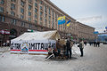 Camp with national flags on the snow street in the occupied territory by demonstrators during anti government protest euromaidan Royalty Free Stock Photos