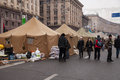 Camp of protesters on maidan euromaidan kiev ukraine Stock Images