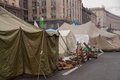Camp of protesters on maidan euromaidan kiev ukraine Stock Photography