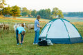 Camp site with heifers Royalty Free Stock Photo
