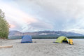 Camp site on Liard River Royalty Free Stock Photo