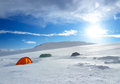 Camp on the snow plain sport and active life concept Royalty Free Stock Photography