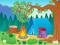 Camp theme image vector illustration Royalty Free Stock Images