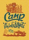 Camp yeti woodcut style sign with a bigfoot illustration Stock Images