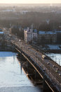 Campaign riga latvia january light path chain of book friends view from st peters church on the stone bridge on the bridge there Royalty Free Stock Photography