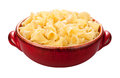 Campanelle pasta bowl isolated in a red on a white background with a clipping mask Royalty Free Stock Photos