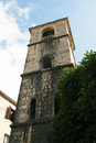 Campanile in kotor the bell tower of the church of st mary river montenegro Stock Photos
