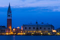 Campanile and palazzo ducale venice di san marco doge s palace in night scene of italian landmark Royalty Free Stock Photo