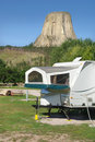Camper by Devil's Tower, Wyoming Royalty Free Stock Photos
