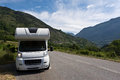 Camper on the road auto in french alps Stock Images