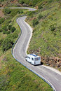 Camper on the road in Europe. Stock Images