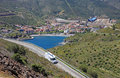 Camper on the road near spanish city Portbou. Stock Photography