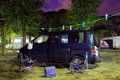 Camper van on camping site Royalty Free Stock Photos