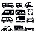 Camper van icons Stock Photography
