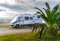 Camper van parked on a beach Royalty Free Stock Photo