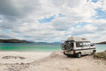 Camper van parked on a beach in the isle of lewis outer hebrides scotland uk Stock Photos