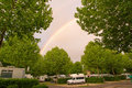 Camper vans and trees on the campground bois de boulogne in paris with lots of Royalty Free Stock Photography