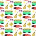 Campers vacation travel car summer nature seamless pattern background holiday trailer house vector illustration flat