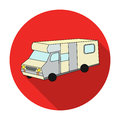 Campervan icon in flat style isolated on white background. Family holiday symbol stock vector illustration.