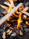 Campfire burning Royalty Free Stock Photo