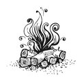 Campfire, fire over wood logs. Black and white graphic vector illustration, isolated on white. Royalty Free Stock Photo