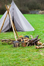 Campfire with old tent Stock Images